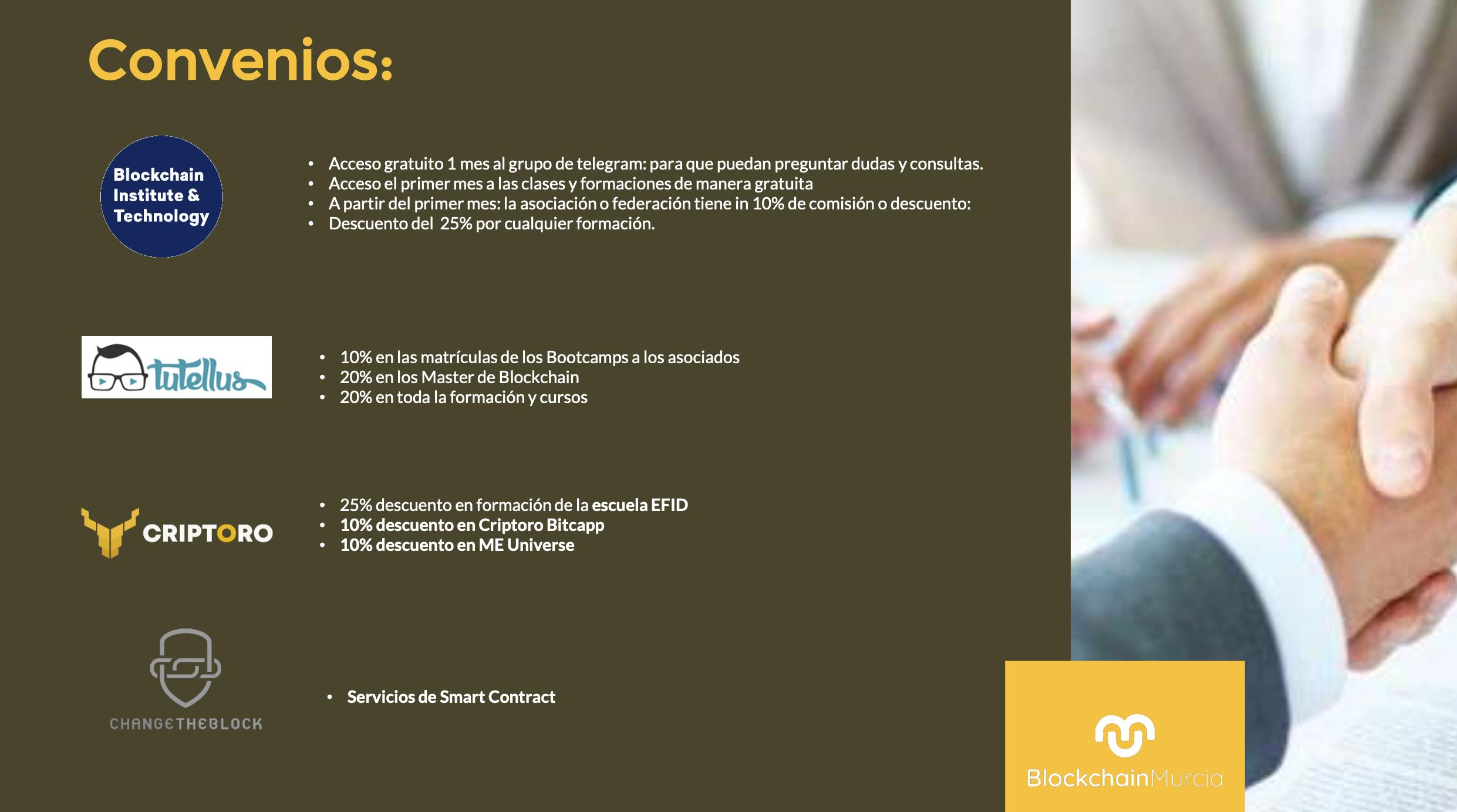 CONVENIOS DE BLOCKCHAIN MURCIA CON OTRAS ENTIDADES Y EMPRESAS